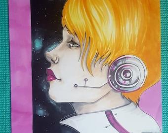 """Dreamer - Original Drawing 9 x 12"""""""