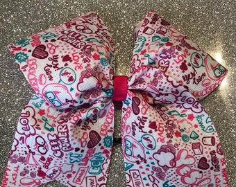 Doodle Text White Grosgrain Cheer Bow