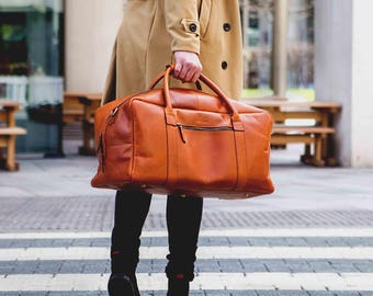 Mens Leather holdall weekender overnight duffle bag cabin travel luggage - Niche Lane Pioneer Tan