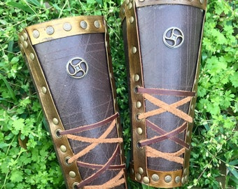 Mens Leather Bracers - Gladiator Bracers - Arm Armor - Mens Leather Armor - Free shipping