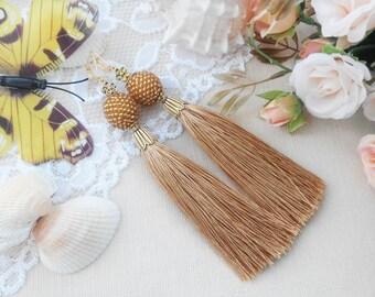Golden fringe earrings for girls Beaded earrings Tassel jewelry for her Dangle woman earrings Beach lady earrings Girl jewelry gift