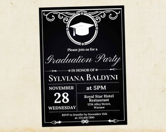 graduation party invitation graduation invitation template college graduation printable invite retro graduation invitation - Invitation For Graduation