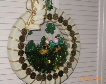 Holiday Wreath, St Patrick's Day with perimeter lights