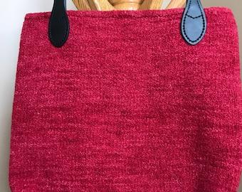 Red wool felt tote bag