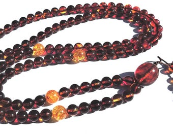 108 bead Zen Mala Baltic Amber and Sunspangled Honey Baltic Amber. Unique, only one will be made.