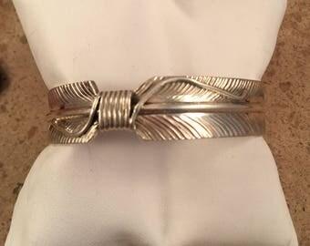 Vintage Navajo Sterling Silver Leaf Cuff Bracelet Signed