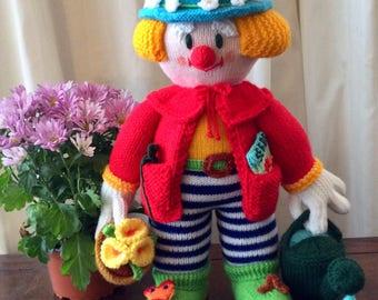 Hand knitted Jean Greenhowe toy / doll clown Bertie Bloomer