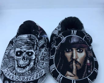 Jack Sparrow Crib Shoes/ Pirates of the Caribbean Crib Shoes / Slippers
