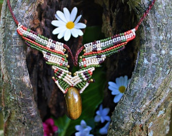 Macrame necklace, African necklace, African jewelry, Tigereye necklace, Bohemian necklace, Gypsy necklace