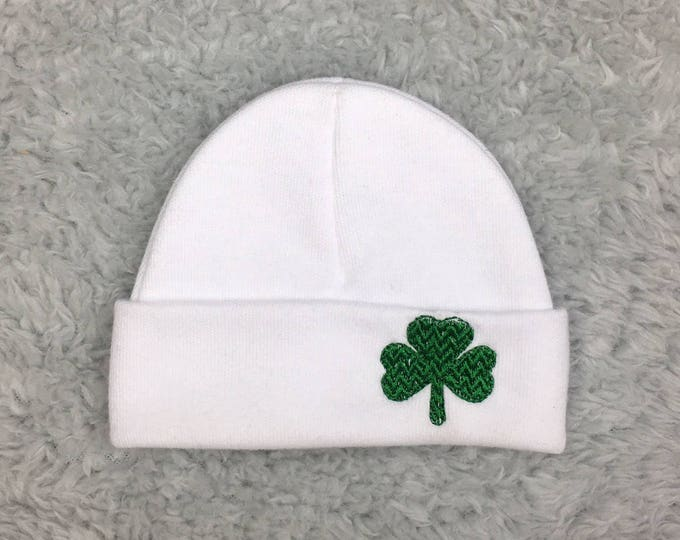 Preemie hat with embroidered shamrock - micro preemie hat, preemie hat newborn hat - clover hat for baby, Irish baby, St Patrick's baby