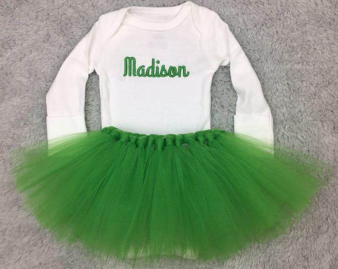 Personalized newborn outfit with tutu - preemie girl tutu, newborn girl tutu, baby shower gift monogrammed baby, Irish baby St Patrick's Day