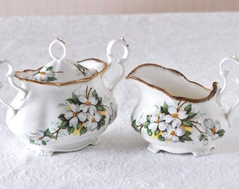 Discontinued Rare Vintage Royal Albert White Dogwood Fancy Cream and Sugar  / Rare White Dogwood Victorian Style Cream and Sugar Set