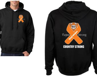 SURVIVOR Vegas Strong Route 91 Country Strong with orange Ribbon Heavy Blend Adult Hooded Sweatshirt