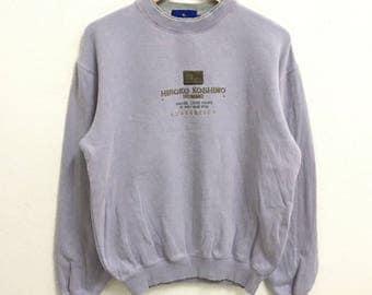 RARE!!! Hiroko Koshino Big Logo Embroidery Crew Neck Light Purple Colour Sweatshirts Hip Hop Swag M Size