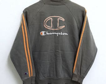RARE!!! Champion U.S.A Big Logo Embroidery Zipper Sweaters Hip Hop Swag 160 (S) Size