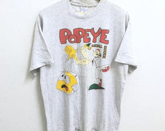 RARE!!! Vintage Popeye The Sailor Cartoon Comic Movies Big Logo Crew Neck Grey Colour T-Shirts L Size