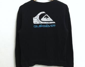 RARE!!! Quiksilver Surf Hawaii Big Logo Crew Neck Black Colour Sweatshirts Hip Hop Swag L (Ladies) Size