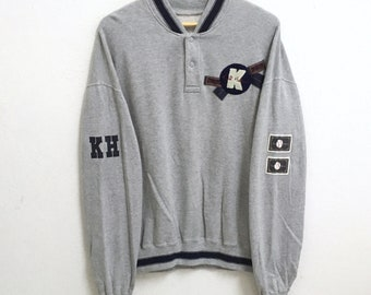 RARE!!! Karl Helmut Big Logo SpellOut Half Button Grey Colour Sweatshirts Hip Hop Swag L Size