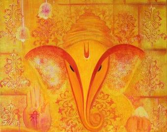Ganesha Painting,Ganpati,Indian artwork,Ganesha Art,Prosperity,Good luck,Spiritual Art,Yellow,Orange,Acrylic Art,18X24 Inches Canvas Art.