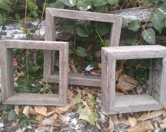 """Rustic 3"""" Deep Reclaimed Wood Shadow Boxes - Multiple Sizing Options - Made From Naturally Aged & Weathered Salvaged Recycled Wood"""