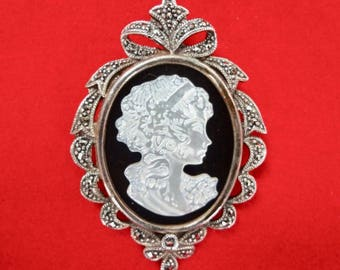 Onyx, Marcasite and Mother of Pearl Cameo Brooch/Pin Excellent Condition