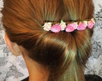 Pink bridal decorative comb, hair accessories, Bridesmaid hair comb, flower girl, wedding hair comb, decorative comb, flower girl hair piece