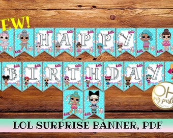 LOL surprise birthday banner,lol surprise party,lol surprise birthday,lol surprise banner,lol surprise printable,lol surprise party supplies