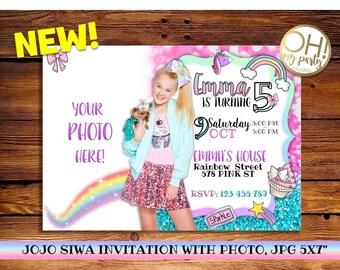 JOJO SIWA birthday invitation with photo, jojo siwa party, jojo siwa birthday, jojo siwa invitation, jojo siwa birthday, jojo siwa, jojo