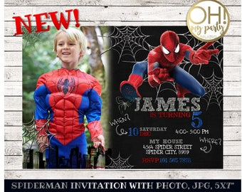 Spiderman invitation etsy spiderman birthday invitation with photo spiderman invitation spiderman birthday spiderman invite spiderman solutioingenieria Gallery
