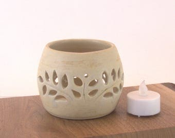 Candle Holder,  Ceramic TeaLight Holder ,  Unique Pottery Gift for Her, Ceramic Luminary, tea light or votive holder