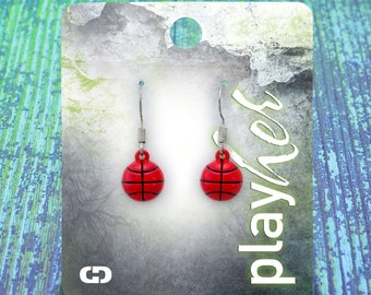Enamel Basketball Dangle Earrings - Great Basketball Gift! Free Shipping!