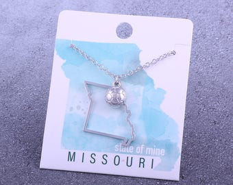 Customizable! State of Mine: Missouri Soccer Silver Necklace - Great Soccer Gift!