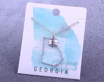 Customizable! State of Mine: Georgia Basketball Silver Necklace - Great Basketball Gift!
