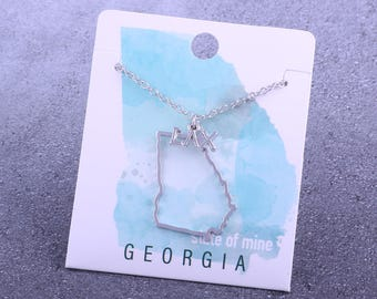 Customizable! State of Mine: Georgia LAX Silver Lacrosse Necklace - Great Lacrosse Gift!
