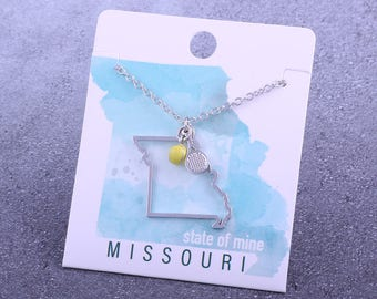Customizable! State of Mine: Missouri Tennis Racket Necklace - Great Tennis Gift!