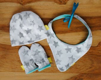Star Bib Set Neutral Gift for Gender Neutral Baby with Hat and Mittens