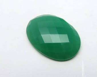 35Cts 32X23X7mm Chrysoprase Oval Faceted Cut Checkerboard Loose Gemstone Awesome Top Quality Jewellery Making Precious Gemstone RG-006