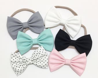 Baby Bow Headbands - Pink, White, Aqua, Black - Bow Headbands - Clips or headbands