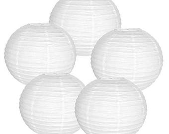"12"" White Paper Lantern (Set of 5, White, 12 inch) - Weddings, Parties, Home Decor"
