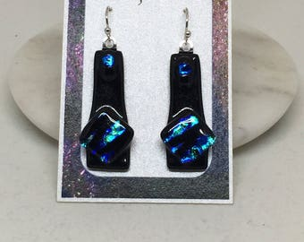 Earrings – Blue, Green, Gold and Black Dichroic Fused Glass Earrings