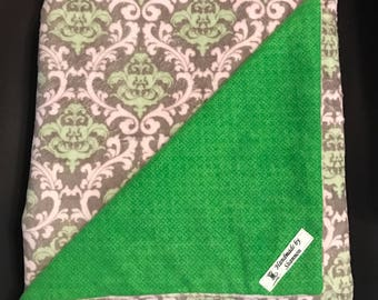 Minky baby blanket, damask minky throw blanket, pink and green blanket