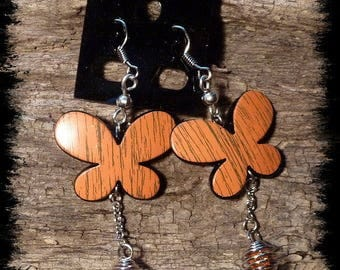Earrings Orange Butterflies and spiral charm #6