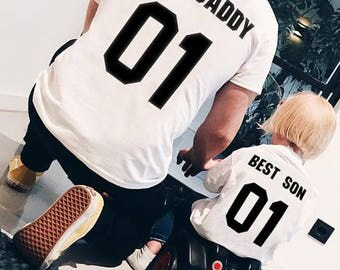 Fathers day gift - Best DADDY Best SON dad and baby matching shirts, father and son clothes, family shirts, 100% cotton Tee