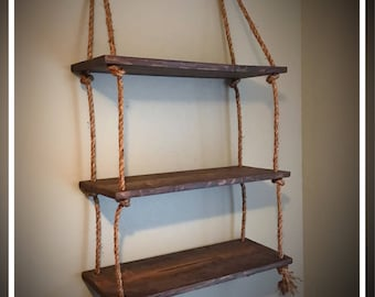 Hanging Wall Bookcase hanging shelves | etsy