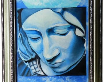 Virgin Mary Original Oil Painting on Canvas Framed & Signed Pieta' Michelangelo Inspired Surreal Art