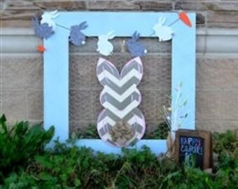 Easter Door Hanger-Chevron Bunny, grey and white bunny, easter bunny decor, easter decor, easter door hanger