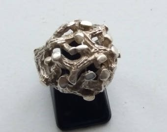 Hallmarked Sterling Silver Brutalist Modernist RING - Peter Guy Watson - London 1970