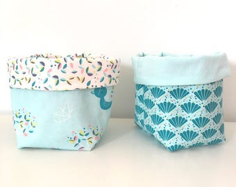 New: set of 2 baskets vide poche reversible patterned shells and peacock blue and lagoon Blue Bird.