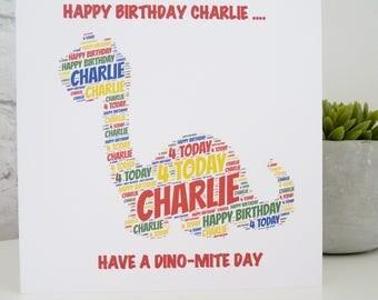 Personalised Dinosaur Card, Personalised Child's Birthday Card, Personalised Birthday Card, Dinosaur Card