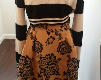On Sale Gold floral print midi skirt